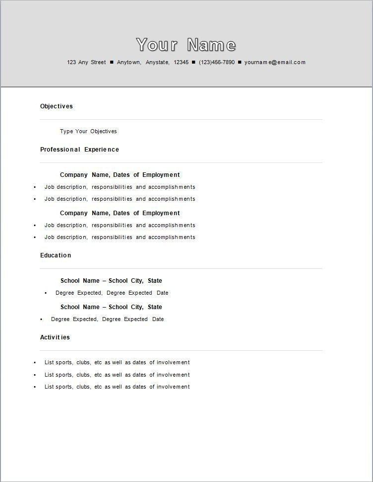 Charming Stylist Ideas Standard Resume Template 11 Standard Resume Template .