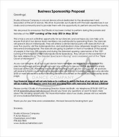 Sponsorship Proposal - 9+ Free PDF Documents Download | Free ...