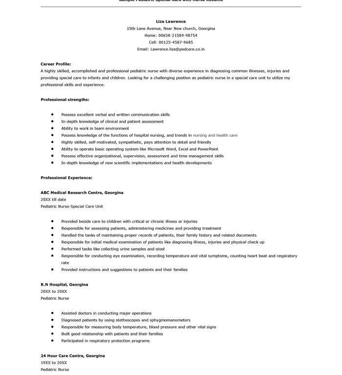Pediatric Nurse Resume Cover Letter