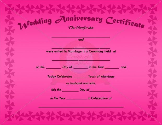 7 Best Images of Anniversary Certificate - Wedding Anniversary ...