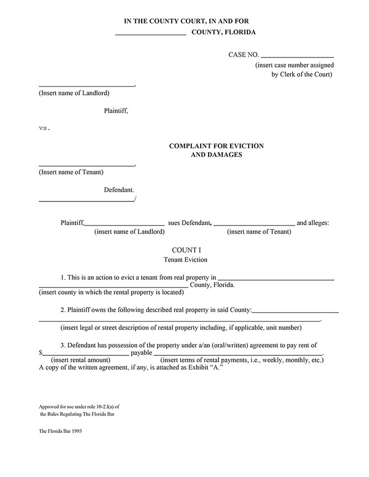 Florida Complaint for Eviction & Damages | EZ Landlord Forms