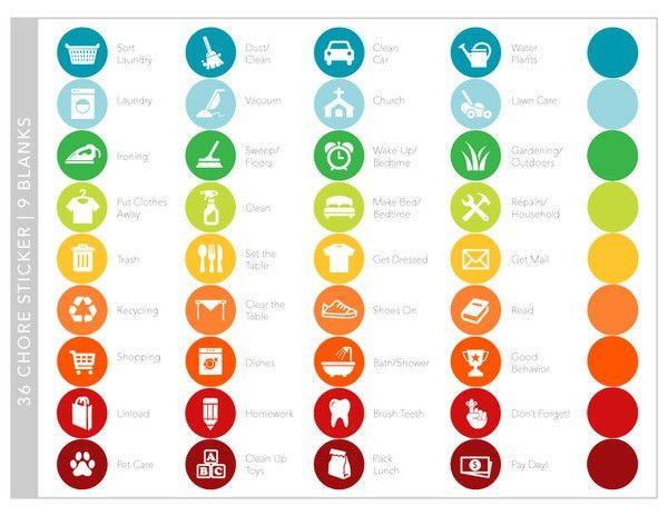FREE Printable Chore Chart Stickers   Printable chore chart ...