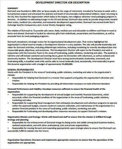Director Of Development Job Description. Job Descriptions And ...