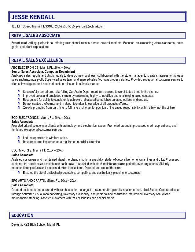 marketing sales manager resume sample. sales associate resume ...