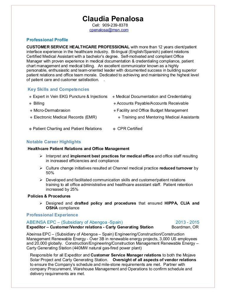 Claurdia Penalosa -Resume - Customer Service Patient Relations Manag…