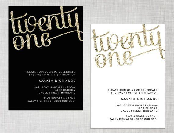 PRINTABLE 21st Birthday Gold Glitter Black OR White Party ...