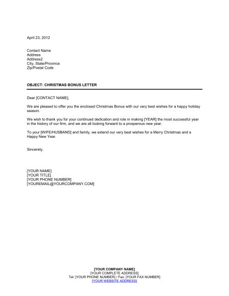 Company Bonus Letter - Template & Sample Form | Biztree.com