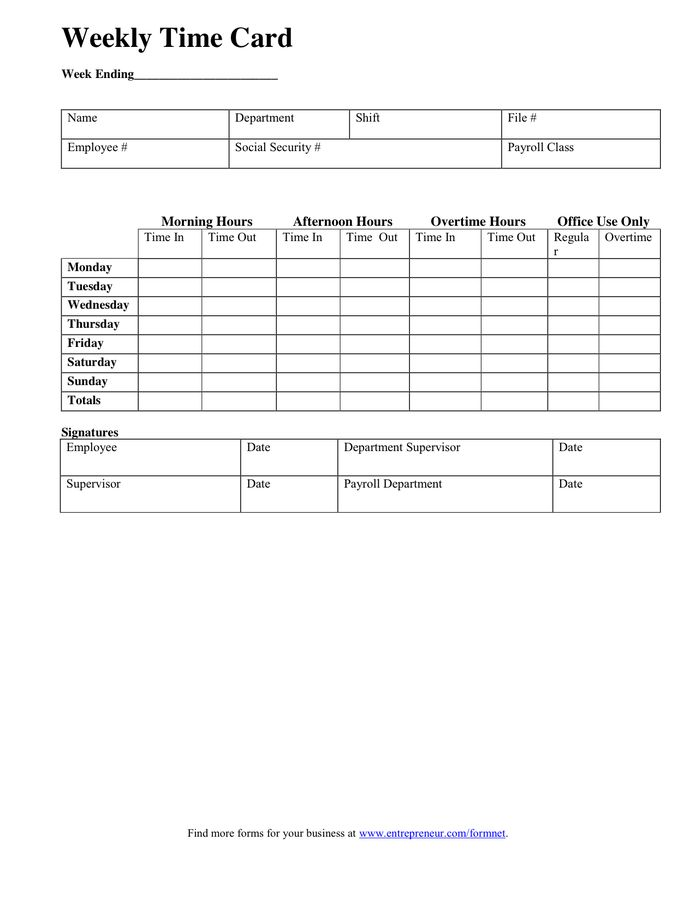WEEKLY TIME CARD Template in Word and Pdf formats