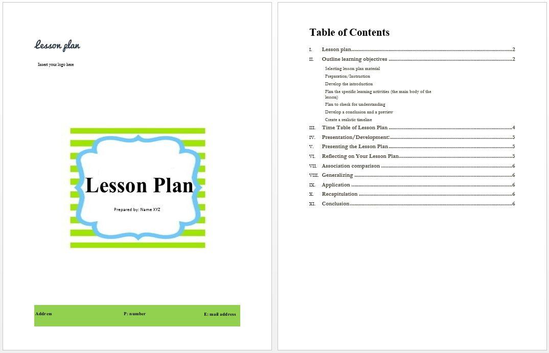 Lesson Plan Example | Microsoft Word Templates