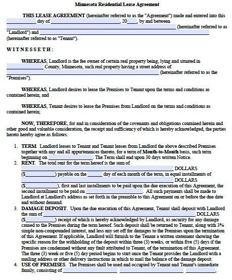 Free Minnesota Residential Lease Agreement – PDF Template
