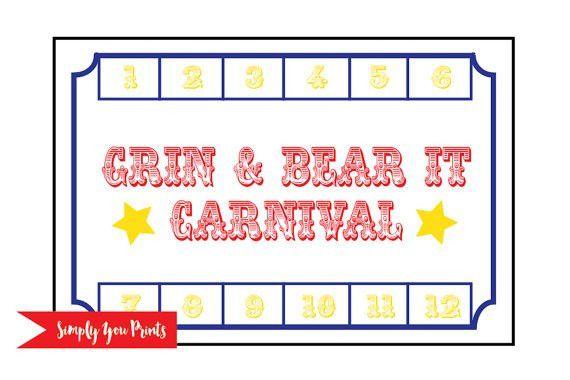 Grin & Bear It Carnival Punch Card Digital File Bear