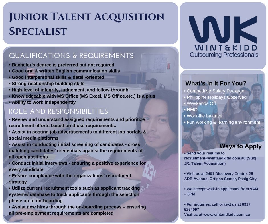 Wint and Kidd is Looking for Junior Talent Acquisition |