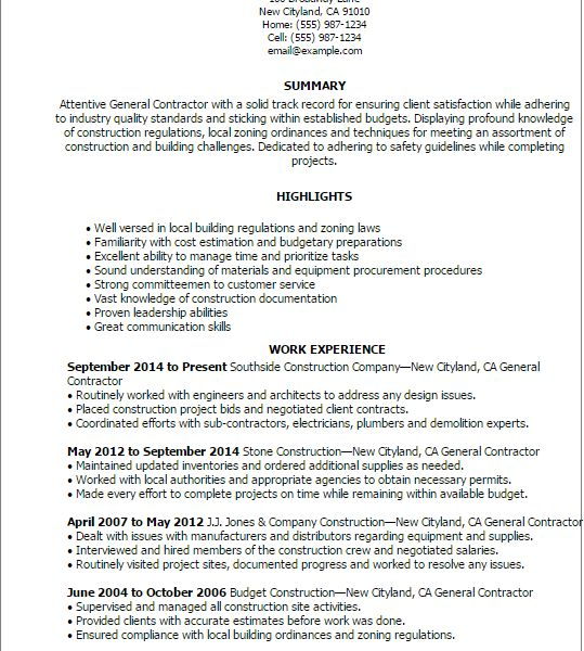 Absolutely Smart Contractor Resume 3 Professional General ...