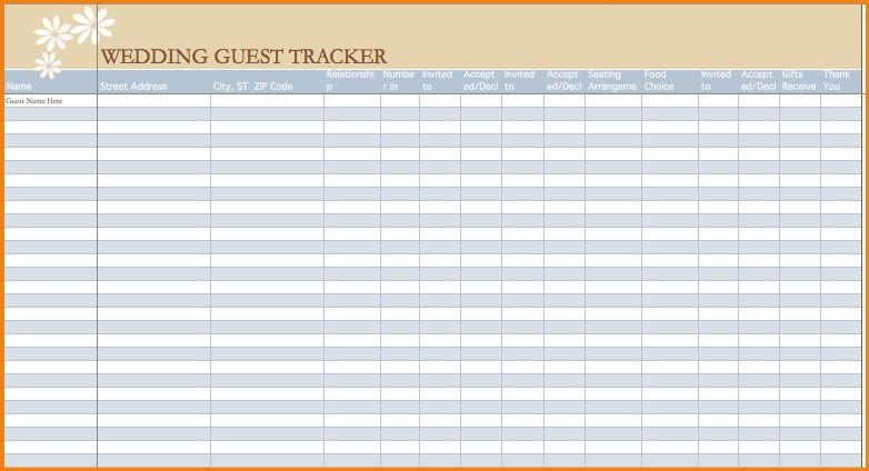 5+ wedding guest list template | wedding spreadsheet