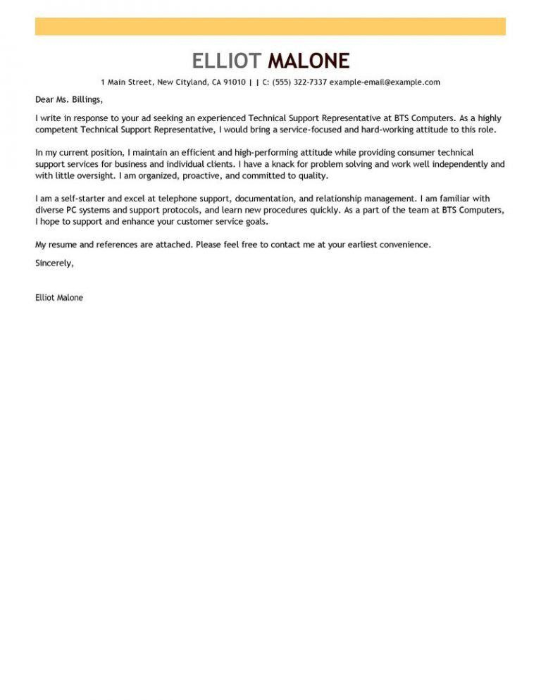 Prissy Design Technical Cover Letter 4 Best Support Examples - CV ...