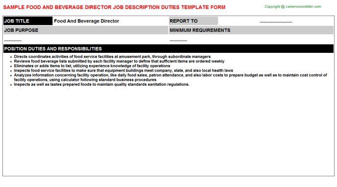 Food And Beverage Controller Job Descriptions