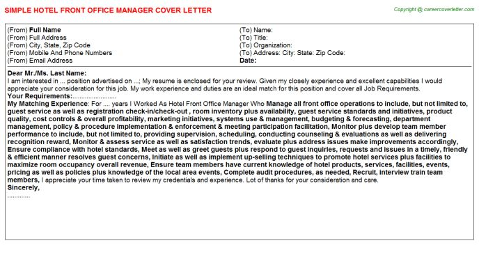 Box Office Manager Cover Letters