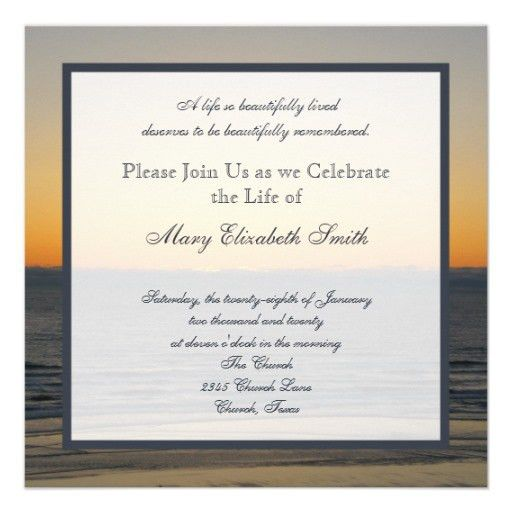 Celebration of Life Invitation | Celebrations and Funeral ideas