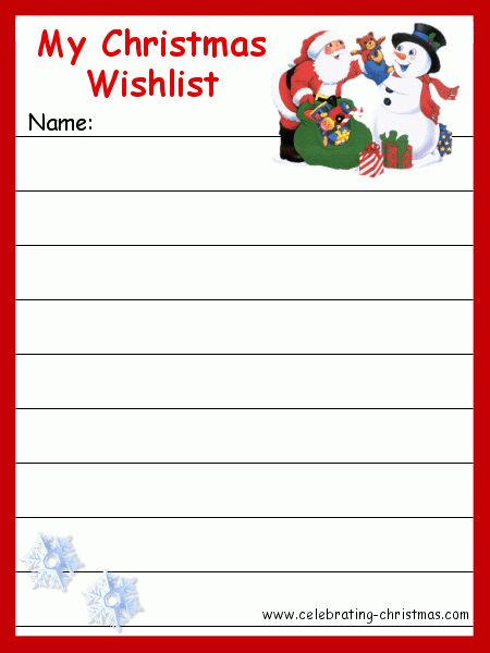Christmas Gift Request And Wish List Template Sample : Vlcpeque