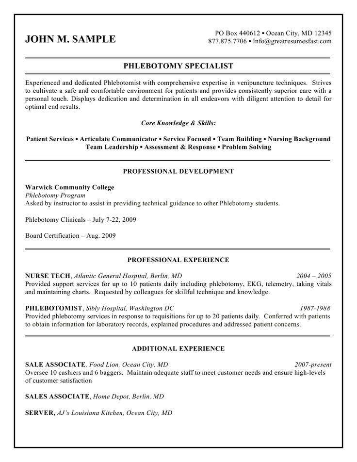 9 best resume samples images on Pinterest | Lab tech, Medical ...