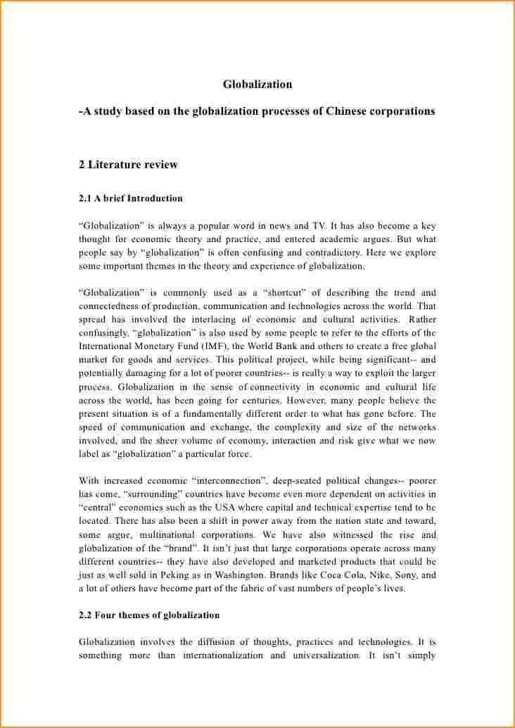Literature Review Example.literature Review Of Globalization ...