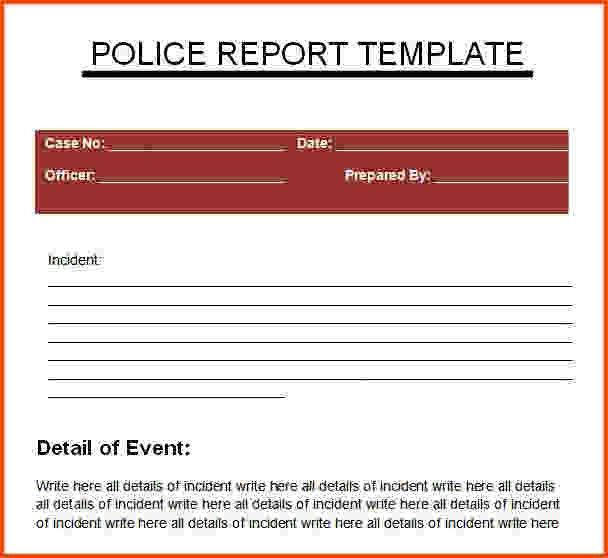 7+ police report template | Survey Template Words
