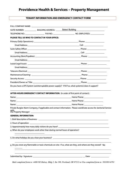 Emergency Contact Information Template. emergency contact form 11 ...