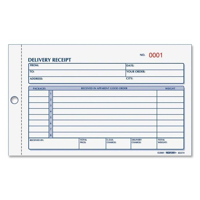 Rediform Delivery Receipt Book 6L615 RED6L615