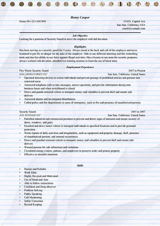 Security Guard Resume Example for Microsoft Word (.doc)