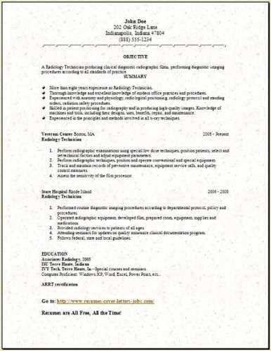 Sample Radiology Technician Resume