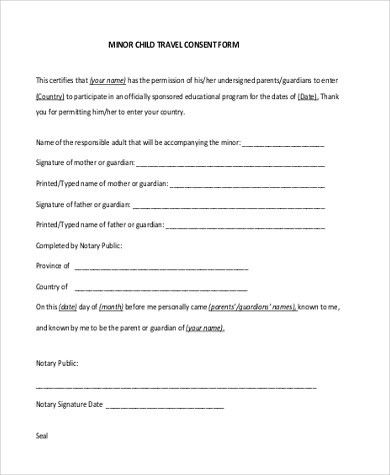 Sample Travel Consent Form