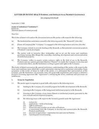 Letter of Intent for Software Development Partnership | Legal ...