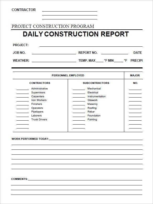 Daily Construction Report Template Daily Construction Report – Daily Report Template Word