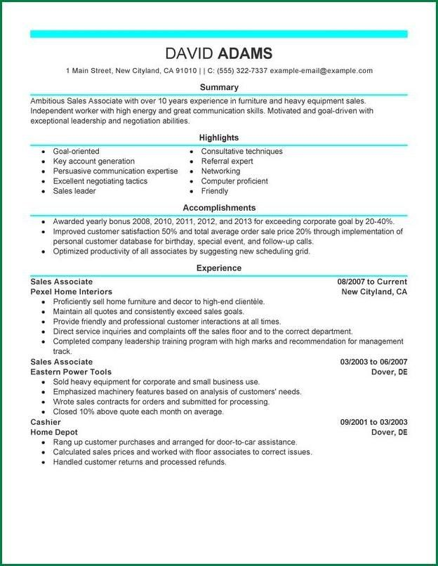 Furniture Sales Associate Resume Sample - Contegri.com