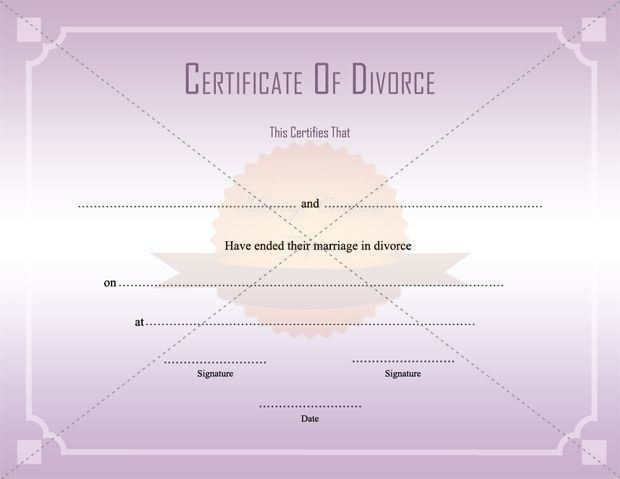 A celebratory, funny certificate of divorce showing silhouettes of ...