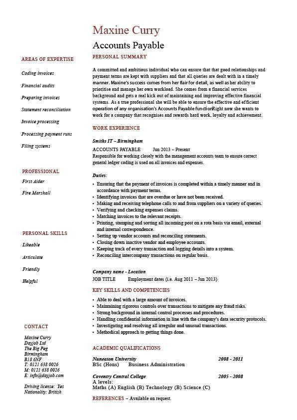 Accounts Payable Resume - Resume Example