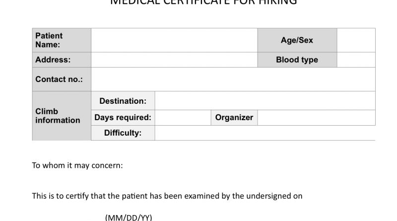 Climb health: Sample medical certificate for hiking - Pinoy ...