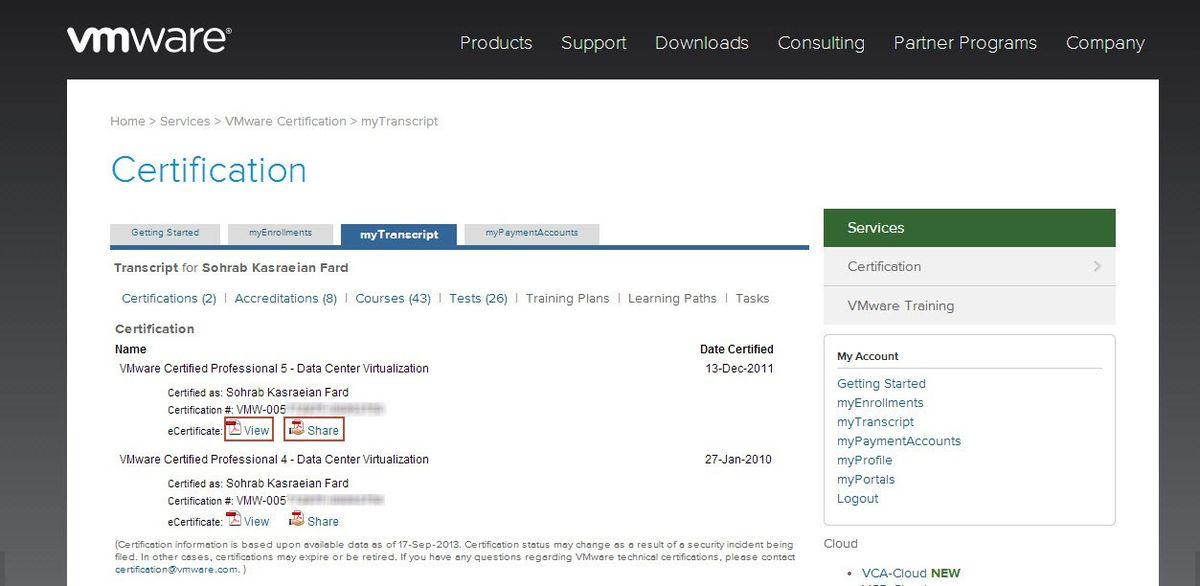 VMware eCertificate – Kasraeian