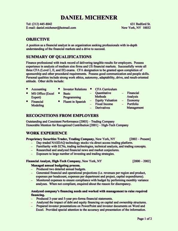 Finance Resume Examples. Financial Advisor Resume Examples ...