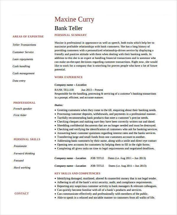 Basic Banking Resumes - 38+ Free Word, PDF Documents Download ...