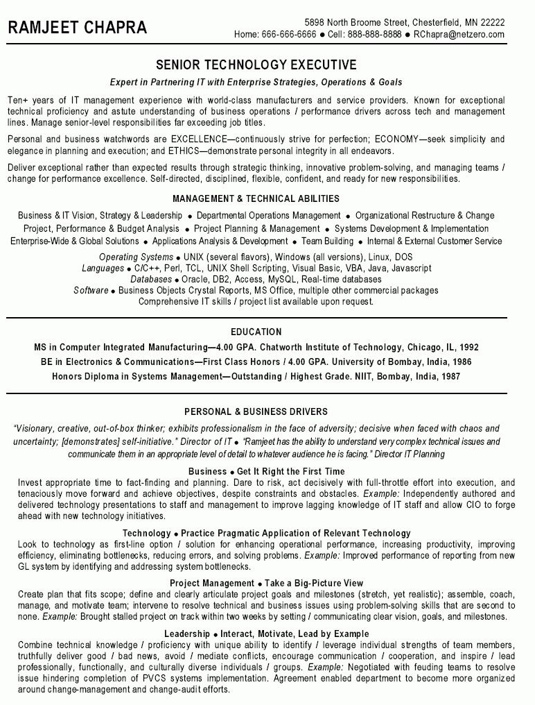 Fantastical Technical Project Manager Resume 10 It Director Sample ...