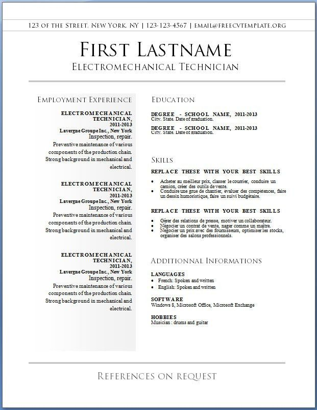 Free Resume Templates Word | cyberuse