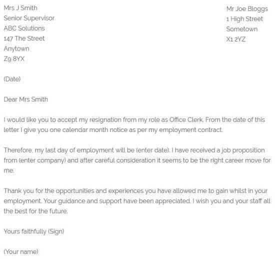 Office Clerk Resignation Letter Example - Resignation Letter Examples