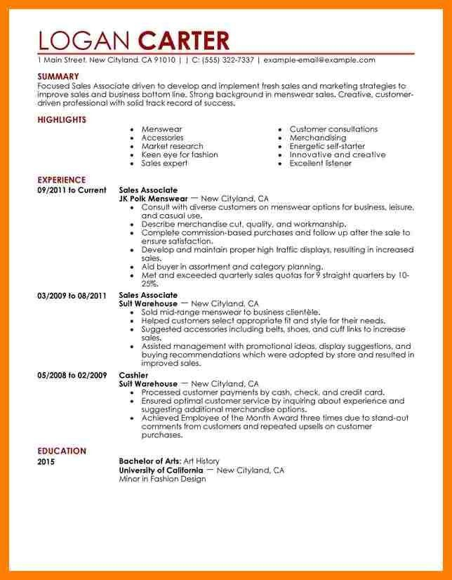 sales associate level resume sample. fashion sales representative ...