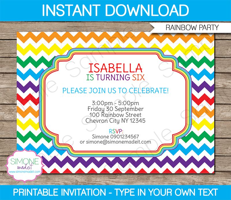 Rainbow Party Invitations Template | Birthday Party