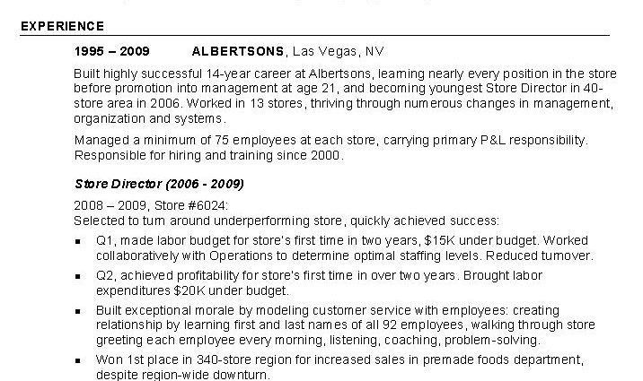 retail Store Manager Resume example profile experience - Writing ...