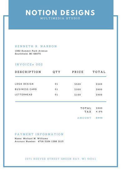 Simple Blue Invoice Letterhead - Templates by Canva