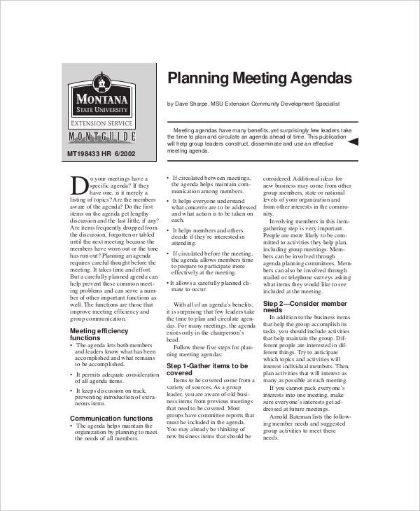 12+ Effective Meeting Agenda Templates – Free Sample, Example ...