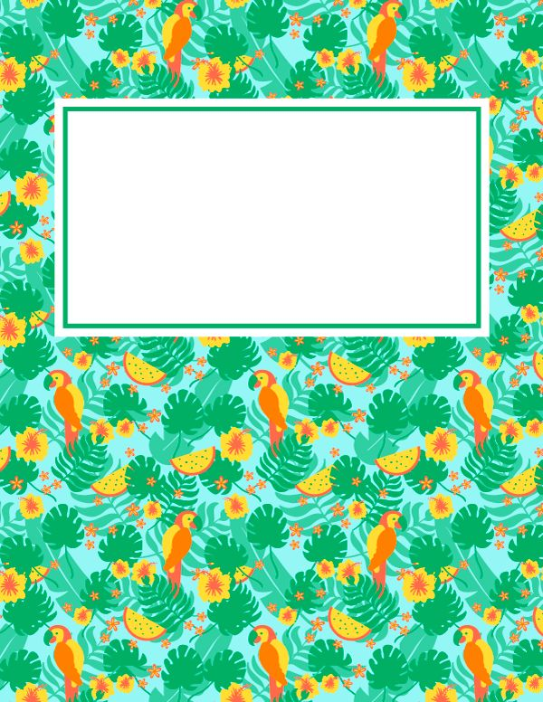 Free printable tropical binder cover template. Download the cover ...