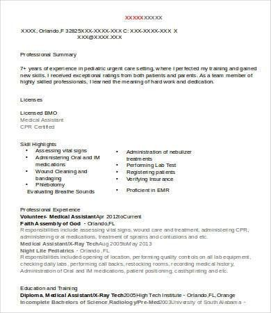 Sample Medical Assistant Resume - 9+ Free Sample, Example, Format ...